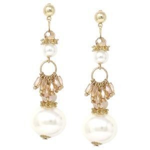 Pearl and Bead Cluster Fashion Earrings